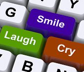 Laugh Cry Smile Keys Represent Different Emotions