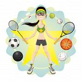 stock photo of woman g-string  - Illustration of young woman athlete exercising basketball - JPG