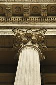 picture of pilaster  - Giant stone pilaster decorated with floral details - JPG