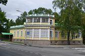 stock photo of tsarskoe  - The old wooden building in Tsarskoe Selo St - JPG