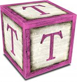 foto of letter t  - Vintage alpha block with shadow  - JPG