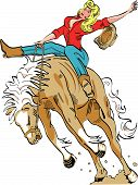 stock photo of bronco  - Cowgirl Riding Horse or Bucking Bronco in Cartoon or Comic Book Style - JPG