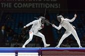 MOSCOW - APR 6: Serious clash on championship of world in fencing among juniors and cadets, in Sport