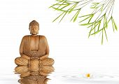 stock photo of karma  - Zen abstract of a buddha in prayer in a garden with bamboo leaf grass and lotus lily flower with reflection over rippled gray water over white background - JPG