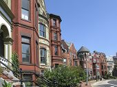 stock photo of row houses  - one of several shots of historic victorian homes in washington dc - JPG