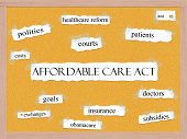Affordable Care Act Corkboard palabra concepto