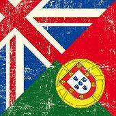 Постер, плакат: Флаг Британской и португальский гранж Этот флаг представляет связь между Англией и порту