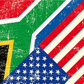image of south american flag  - USA and south african grunge Flag - JPG