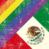 foto of gay flag  - Mexican and gay grunge Flag - JPG