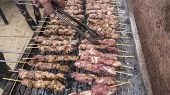 foto of souvlaki  - Greek traditional meat barbecue souvlaki just roast - JPG