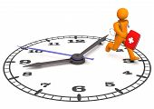 stock photo of running-late  - Orange cartoon character as doctor runs on the big clock - JPG