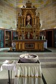 image of christening  - altar on church with elements for christening - JPG