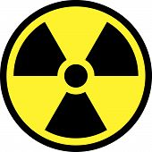 foto of nuke  - yellow radiation round sign on white background - JPG