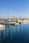 stock photo of pontoon boat  - PLAYA BLANCA SPAIN  - JPG