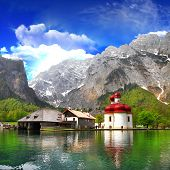beautiful Alpen scenery - crystal lake Konigsee  with small church