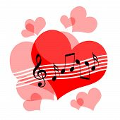 stock photo of serenade  - Love hearts and musical notes composition on white background - JPG