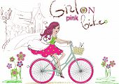 stock photo of wind wheel  - Vector illustration of young smiling girl on pink bicycle - JPG
