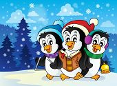 stock photo of christmas song  - Christmas penguins theme image 2  - JPG