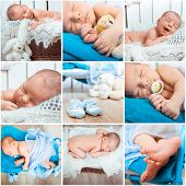 foto of sweet dreams  - Collage of a sweet newborn baby photos - JPG