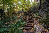 image of asheville  - A natural stone stairway on a trail in the Blue Ridge Mountains of North Carolina - JPG