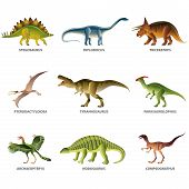 stock photo of tyrannosaurus  - Dinosaurs isolated on white colorful vector collection - JPG
