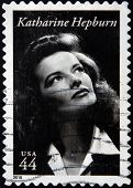 A stamp printed in USA shows Katharine Hepburn