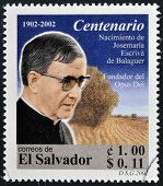 stamp shows image of Saint Escriva de Balaguer was a Roman Catholic priest who founded Opus Dei