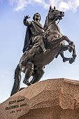 picture of great horse  - The equestrian statue of Peter the Great on the Senate Square in St Petersburg was constructed by Catherine the Great order in 1782 - JPG