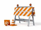 stock photo of barricade  - 3d render of under construction barrier with road cones - JPG