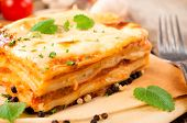 image of lasagna  - Fresh homemade lasagna with beef meat - JPG