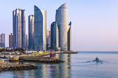 BUSAN, SOUTH KOREA - FEBRUARY 10: Haeundae District and waterfront February 10, 2013 in Busan, South