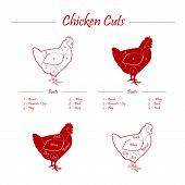 image of giblets  - graphic chicken meat cuts scheme on board - JPG