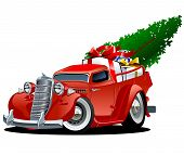 stock photo of weihnachten  - Cartoon christmas pickup isolated on white background - JPG