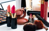 stock photo of blush  - Professional makeup set - JPG