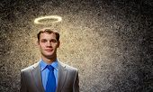 stock photo of halo  - Image of businessman with halo above head - JPG