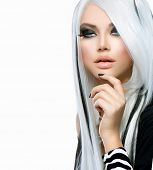 pic of long nails  - Beauty Fashion Girl black and white style - JPG