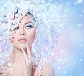 stock photo of ice crystal  - Winter Beauty Woman - JPG
