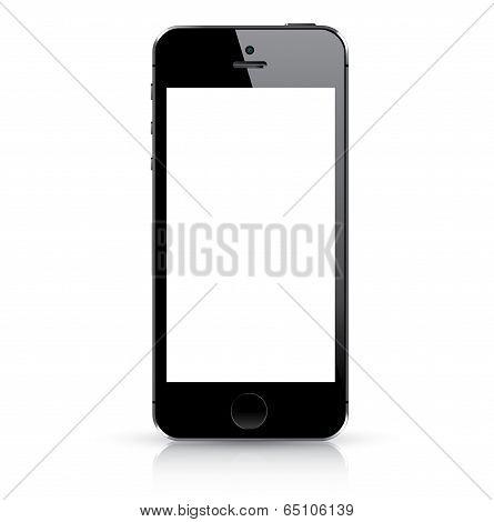 Modern black smart phone isolated. Vector illustration. poster