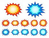 stock photo of starburst  - set of red and blue starburst speech bubbles - JPG