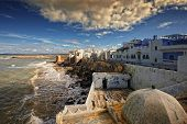 image of asilah  - in northern Morocco there is a town called Asilah in which their homes and streets are painted blue - JPG