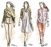 picture of freehand drawing  - Vector illustration of Sketch of Fashion models - JPG