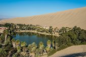 foto of oasis  - Huacachina lagoon in the peruvian coast at Ica Peru - JPG