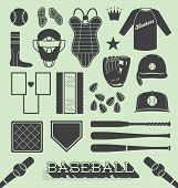 stock photo of ball cap  - Collection of baseball and softball related icons and objects - JPG