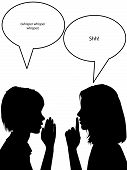 stock photo of hush  - Two women whisper to confide hush hush secret gossip - JPG