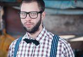 image of redneck  - Redneck nerd man in glasses with beard outdoor - JPG