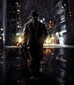 image of mafia  - Noir detective walking a night city lights - JPG