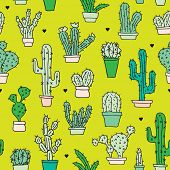 foto of jungle flowers  - Seamless botanical garden cactus in flower pots illustration background pattern in vector - JPG