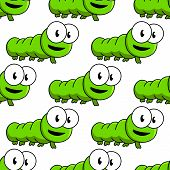 image of googly-eyes  - Seamless pattern of cute cartoon green caterpillars with large googly eyes in square format - JPG