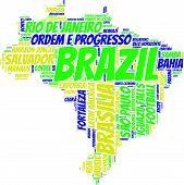 foto of gaucho  - Brazil map vector tag cloud with national flag colors blue - JPG