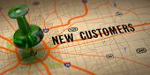 New Customers  - Green Pushpin on a Map Background poster